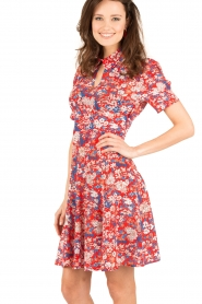 Tara Jarmon | Zijden jurk Birdy | rood  | Afbeelding 4