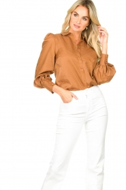 Dante 6 |  Balloon sleeve blouse Mauri | brown  | Picture 4