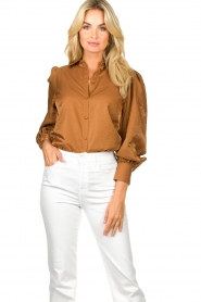 Dante 6 |  Balloon sleeve blouse Mauri | brown  | Picture 2
