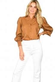 Dante 6 |  Balloon sleeve blouse Mauri | brown  | Picture 5