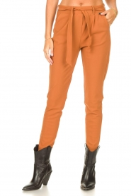 D-ETOILES CASIOPE |  Travelwear pants with tie belt Antigua | camel  | Picture 4