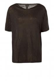 By Malene Birger | Linnen T-shirt Ivonna | zwart  | Afbeelding 1
