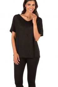 By Malene Birger | Linnen T-shirt Ivonna | zwart  | Afbeelding 2