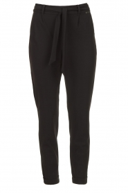 D-ETOILES CASIOPE |  Travelwear pants with tie belt Antigua | black  | Picture 1