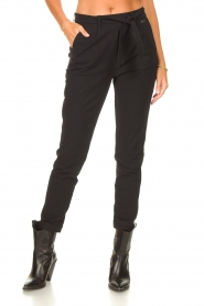 D-ETOILES CASIOPE |  Travelwear pants with tie belt Antigua | black  | Picture 4