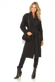 D-ETOILES CASIOPE |  Travelwear pants with tie belt Antigua | black  | Picture 3