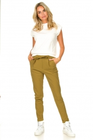 D-ETOILES CASIOPE |  Travelwear pants with tie belt Antigua | green  | Picture 3