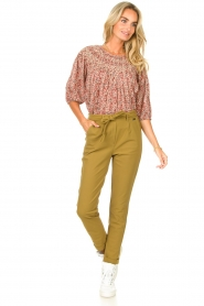 D-ETOILES CASIOPE |  Travelwear pants with tie belt Antigua | green  | Picture 2