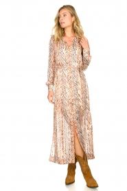 Dante 6 | Maxi-jurk met zebrapirnt Loras | naturel  | Afbeelding 2