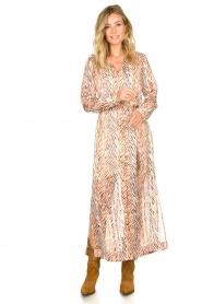 Dante 6 | Maxi-jurk met zebrapirnt Loras | naturel  | Afbeelding 3