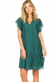 Dante 6 |  Dress with puff sleeves River | green  | Picture 5