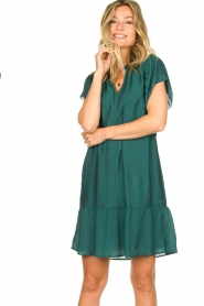 Dante 6 |  Dress with puff sleeves River | green  | Picture 4
