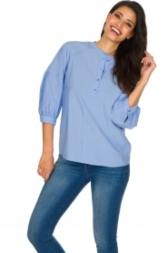 Sessun |  Classic loose blouse Emiko | blue   | Picture 4