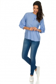 Sessun |  Classic loose blouse Emiko | blue   | Picture 3