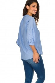 Sessun |  Classic loose blouse Emiko | blue   | Picture 6