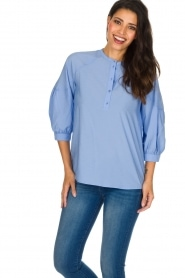 Sessun |  Classic loose blouse Emiko | blue   | Picture 2