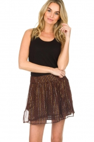ba&sh |  Printed skirt with lurex West | black  | Picture 2
