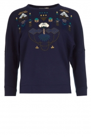 Sessun |  Sweater with embroidery Eko | dark blue  | Picture 1