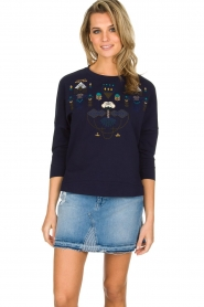 Sessun |  Sweater with embroidery Eko | dark blue  | Picture 2