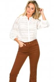 Dante 6 |  Ajour blouse Laureene | white  | Picture 4