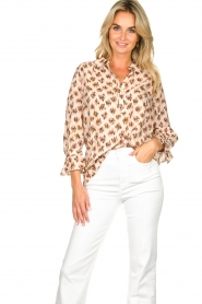 Dante 6 |  Print blouse Willow | brown  | Picture 2
