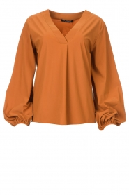 D-ETOILES CASIOPE |  Travelwear top with puff sleeve Arudy | camel  | Picture 1
