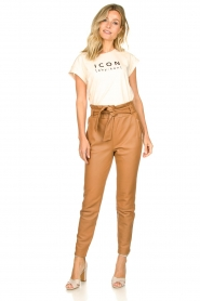 Dante 6 |  Leather paperbag pants Duncan | camel  | Picture 3