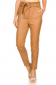 Dante 6 |  Leather paperbag pants Duncan | camel  | Picture 4