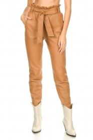 Dante 6 |  Leather paperbag pants Duncan | camel  | Picture 5