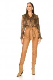 Dante 6 |  Leather paperbag pants Duncan | camel  | Picture 3