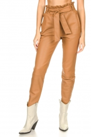 Dante 6 |  Leather paperbag pants Duncan | camel  | Picture 4
