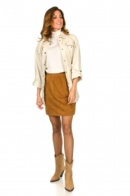 Dante 6 |  Leather skirt with seams Eshvi | camel  | Picture 3