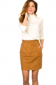 Dante 6 |  Leather skirt with seams Eshvi | camel  | Picture 4