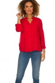 ba&sh |  Embroidered blouse Fleur | red  | Picture 2