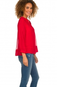 ba&sh |  Embroidered blouse Fleur | red  | Picture 5