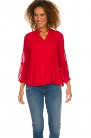 ba&sh |  Embroidered blouse Fleur | red  | Picture 4