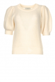 Copenhagen Muse |  Knitted top with puff sleeves Diva | creme  | Picture 1