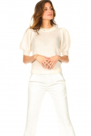 Copenhagen Muse |  Knitted sweater with puff sleeves Diva | creme  | Picture 5