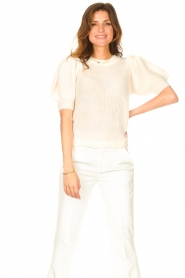 Copenhagen Muse |  Knitted sweater with puff sleeves Diva | creme  | Picture 4