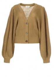 Copenhagen Muse |  Knitted top with puff sleeves Diva | green  | Picture 1