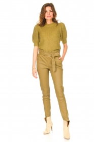 Copenhagen Muse |  Knitted top with puff sleeves Diva | green  | Picture 3
