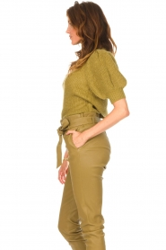 Copenhagen Muse |  Knitted top with puff sleeves Diva | green  | Picture 5