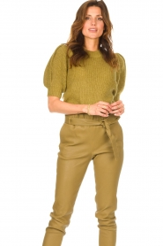 Copenhagen Muse |  Knitted top with puff sleeves Diva | green  | Picture 2