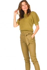 Copenhagen Muse |  Knitted top with puff sleeves Diva | green  | Picture 4
