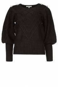 Silvian Heach |  Cable knit with puff sleeves Hortense | black  | Picture 1