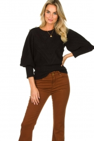 Silvian Heach |  Cable knit with puff sleeves Hortense | black  | Picture 4