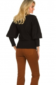 Silvian Heach |  Cable knit with puff sleeves Hortense | black  | Picture 7