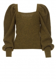 Copenhagen Muse |  Knitted sweater with puff sleeves Alpaca | groen  | Picture 1
