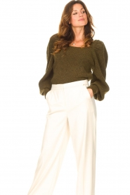 Copenhagen Muse |  Knitted sweater with puff sleeves Alpaca | groen  | Picture 5