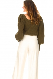 Copenhagen Muse |  Knitted sweater with puff sleeves Alpaca | groen  | Picture 7